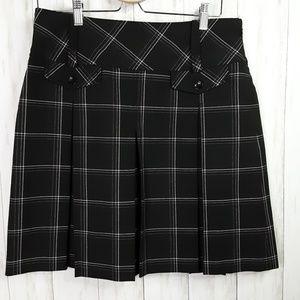 Ann Taylor Loft Stretch Skirt Black Plaid Pleated